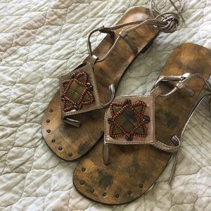 BAMBOO *NWOT* Gladiator Sandals Wooden Bead Detail